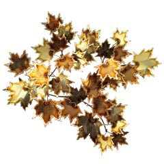 Brass Wall Leaf Sculpture