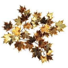 Brass Wall Leaf Sculpture