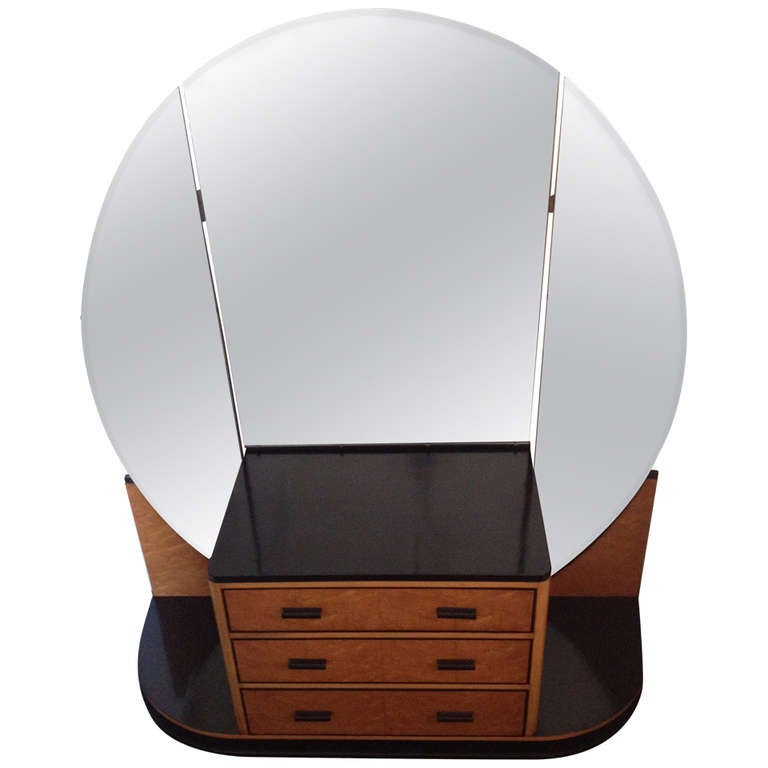 French Art Deco Elegant Vanity with Adjustable Mirrored Sides
