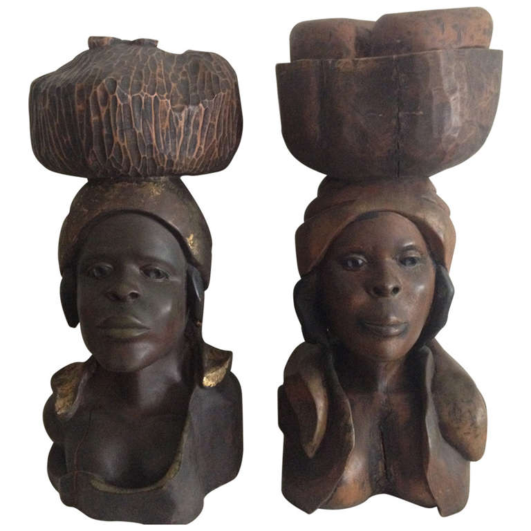 Extra Large Haitian Carved Wooden Figures