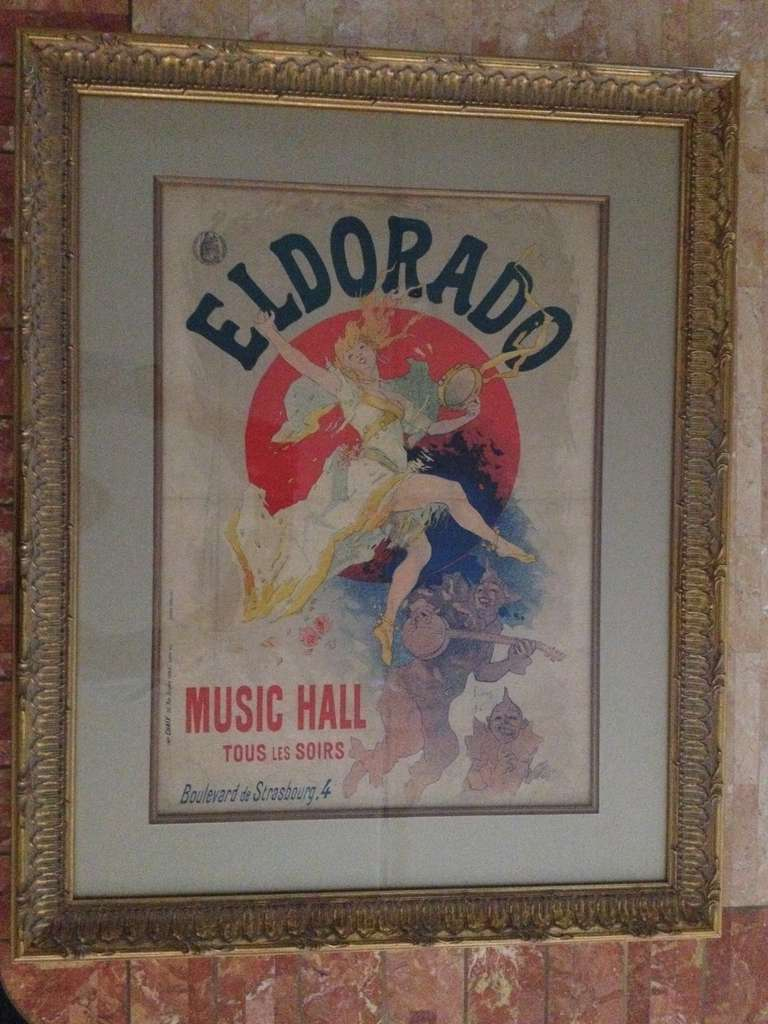 Art Nouveau Jules Cheret Eldorado Music Hall poster,linen backed and matted and framed in ornate Gilt washed frame