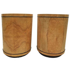 Pair of Henredon Olive Wood Column Cabinet Tables