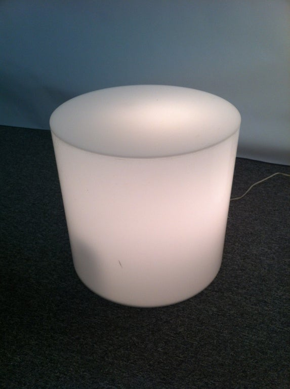Great Pair Rare White Plexiglass Light Up Pedestel End Table Displays 2