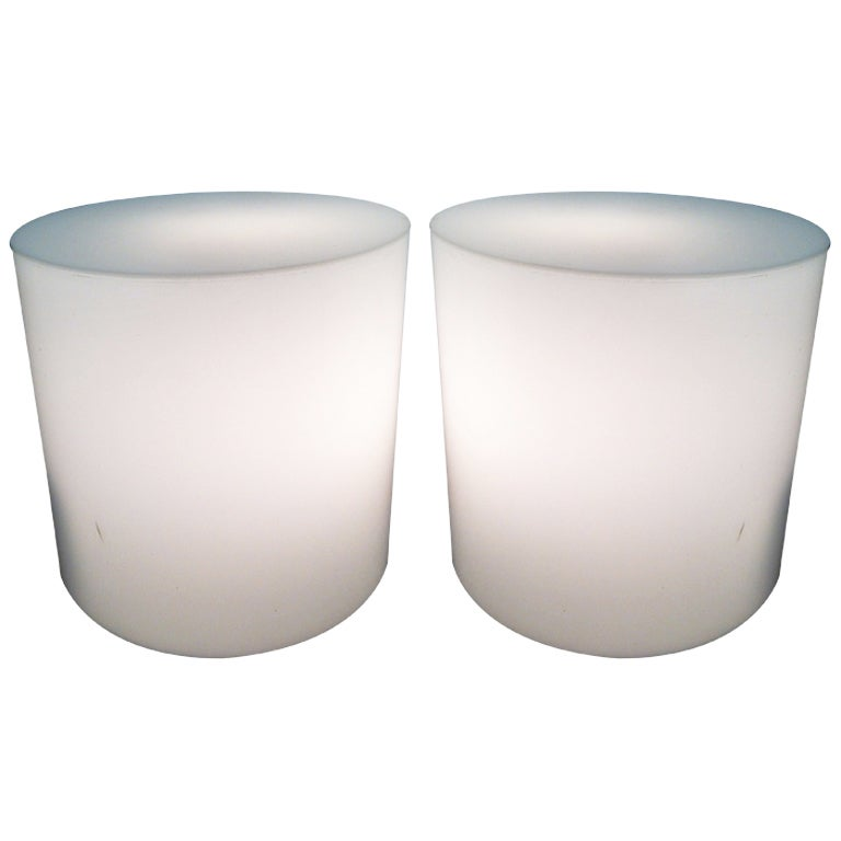 Pair Rare White Plexiglass Light Up Pedestel End Table Displays 1