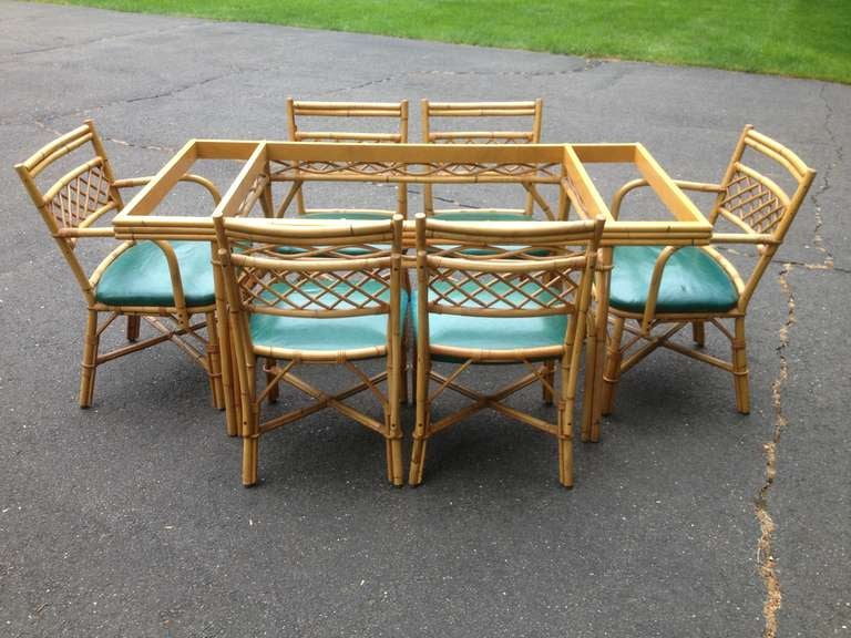 Rattan Table And Chairs Garden Furniture 1940s rattan bamboo table and 6 chairs at 1stdibs circa 1940s rattan bamboo dining table with 6 chairs alloriginal green naugahyde covered seats workwithnaturefo