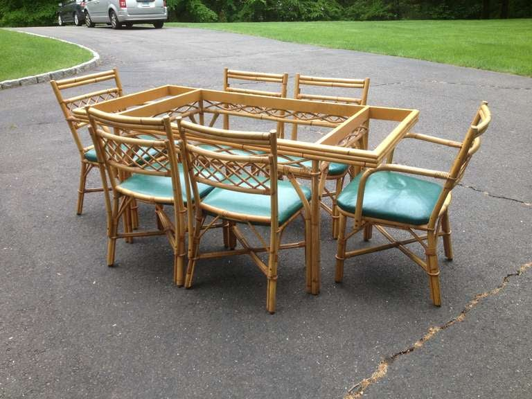 1940 S Rattan Bamboo Table And 6 Chairs At 1stdibs