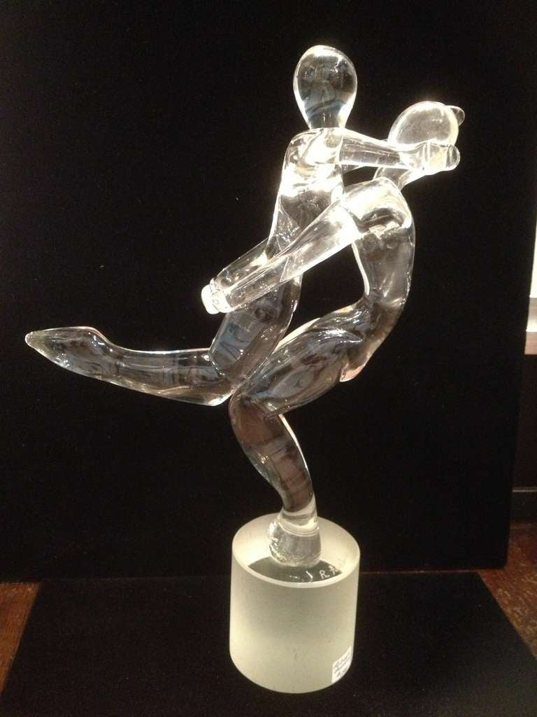 Circa 1970's  Murano Glass Signed Roberto Anatra rare design two piece Man carrying women sculpture on signed Base