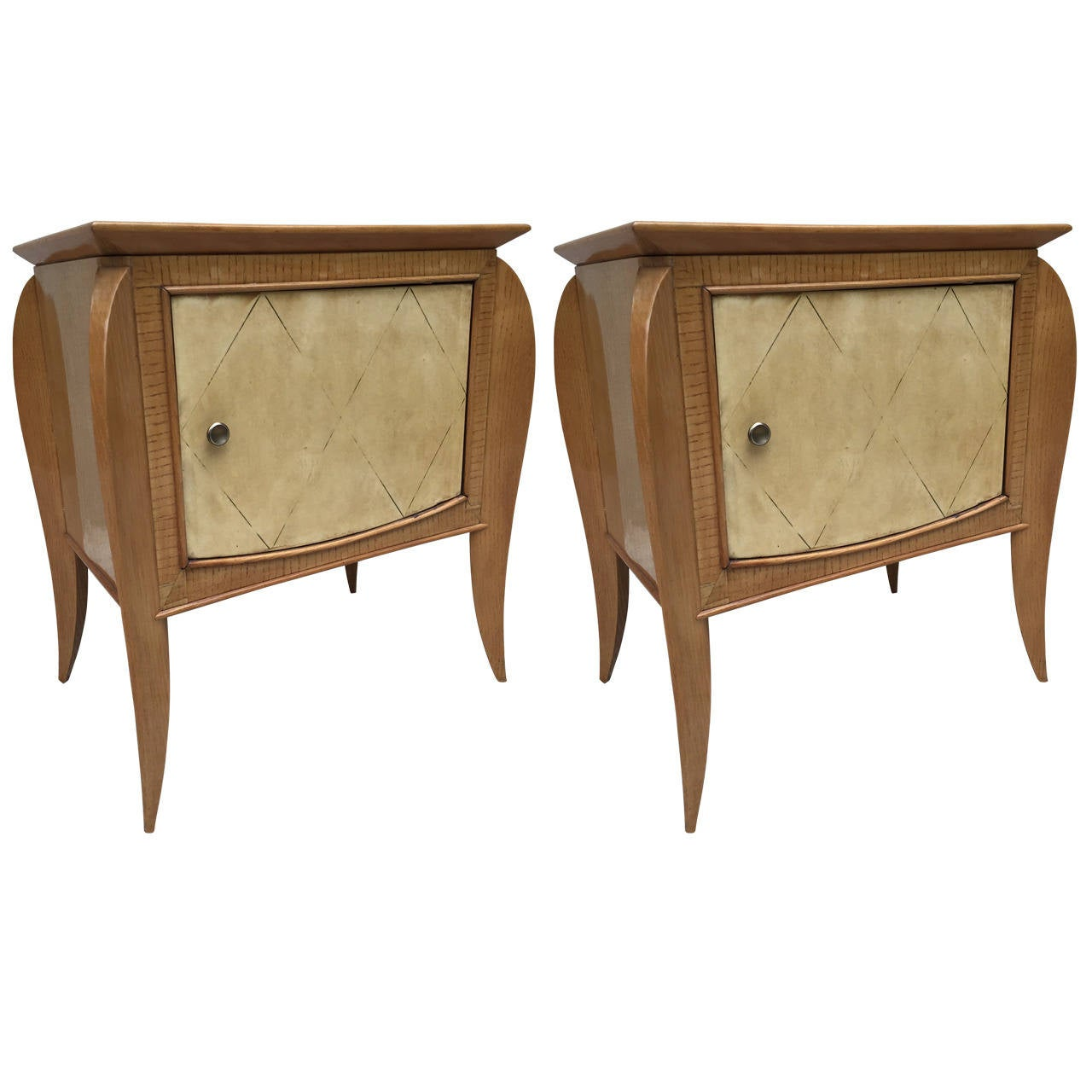 Pair of French Parchment Sycamore End Tables or Nightstands Jules Leleu Style For Sale