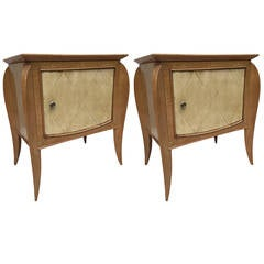 Pair of French Parchment Sycamore End Tables or Nightstands Jules Leleu Style
