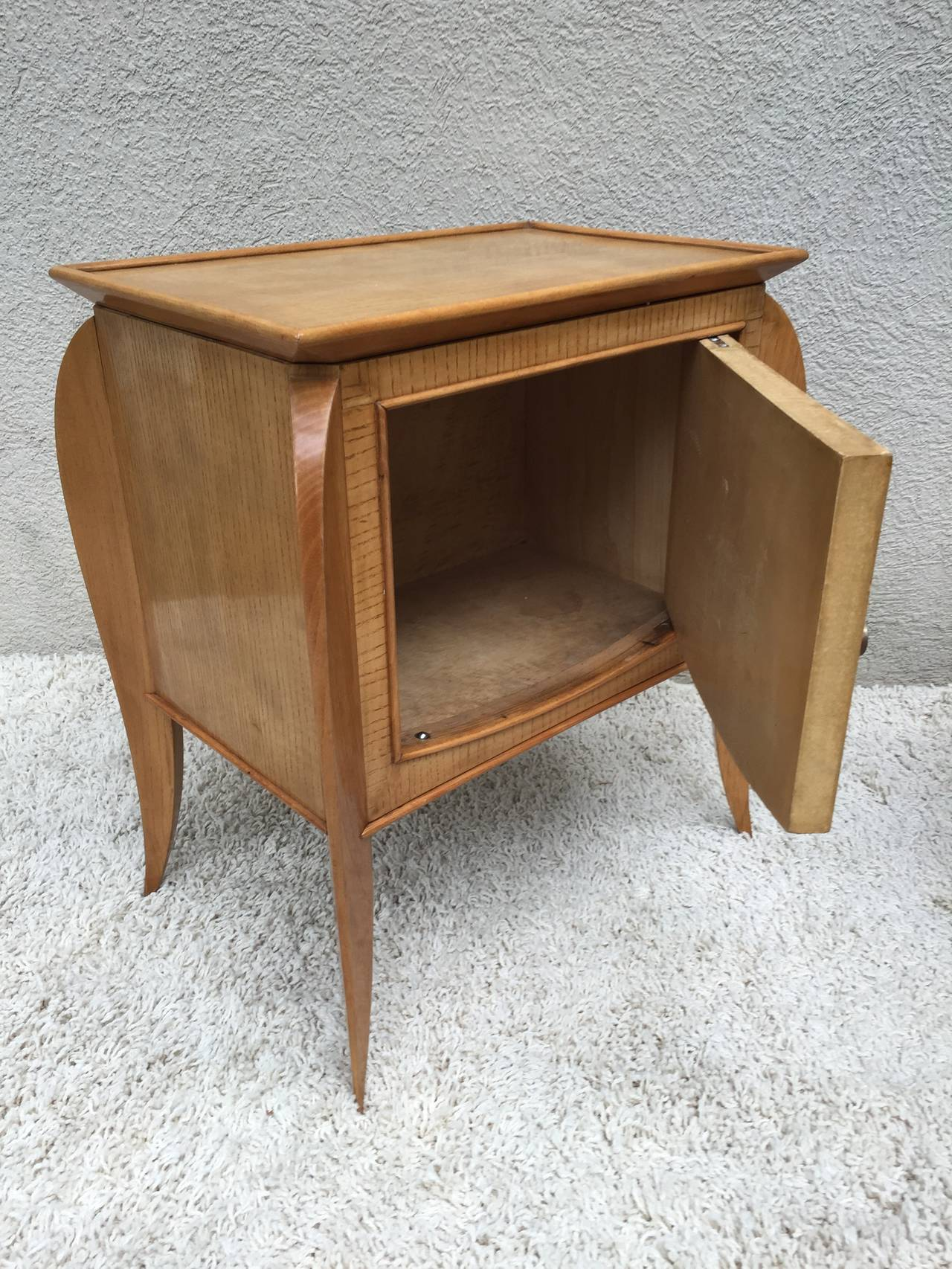 Bronze Pair of French Parchment Sycamore End Tables or Nightstands Jules Leleu Style For Sale