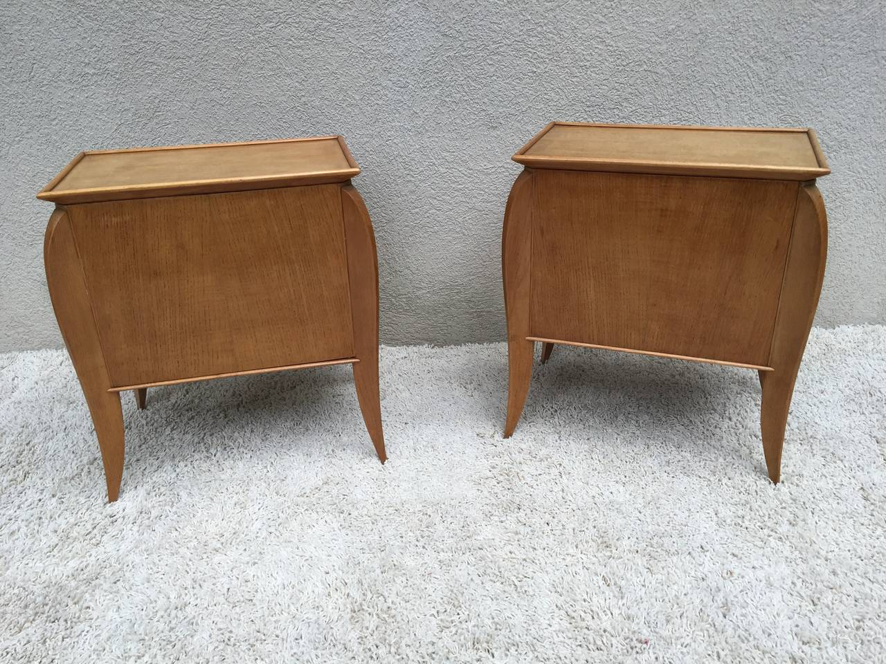 Pair of French Parchment Sycamore End Tables or Nightstands Jules Leleu Style In Excellent Condition For Sale In Westport, CT