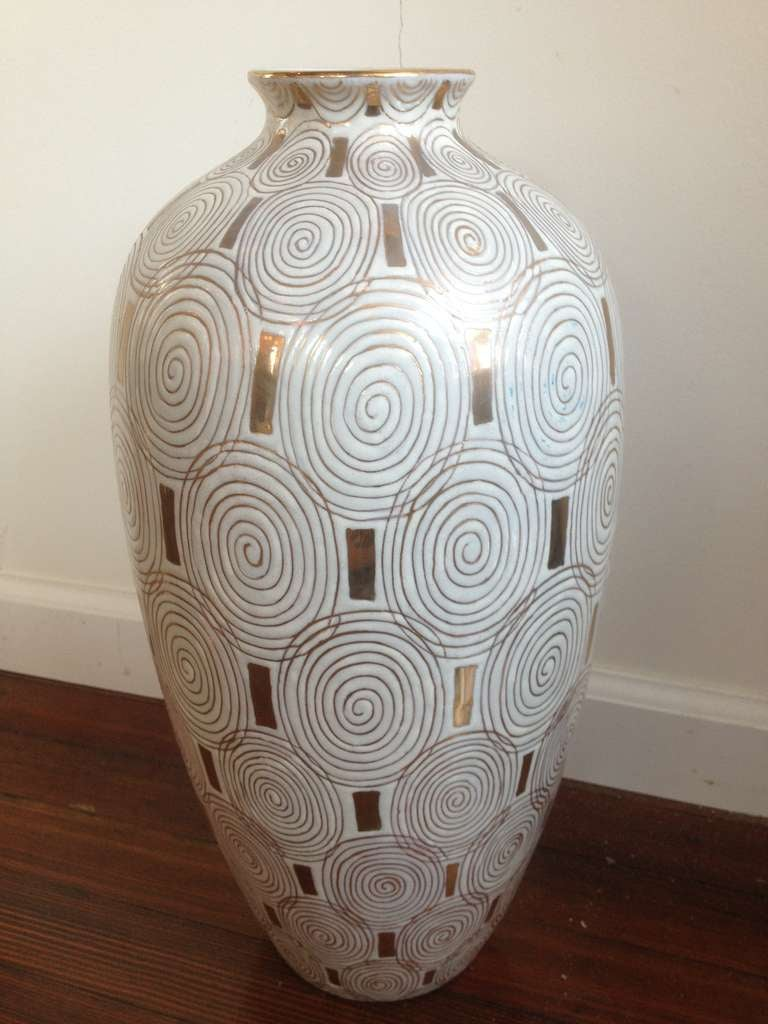 Jay Spectre Large Porcelain Vase For Silvestri At 1stdibs