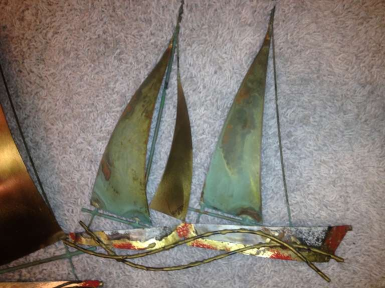 Curtis Jere Sailboat Wall Sculpture 1971 For Sale 1