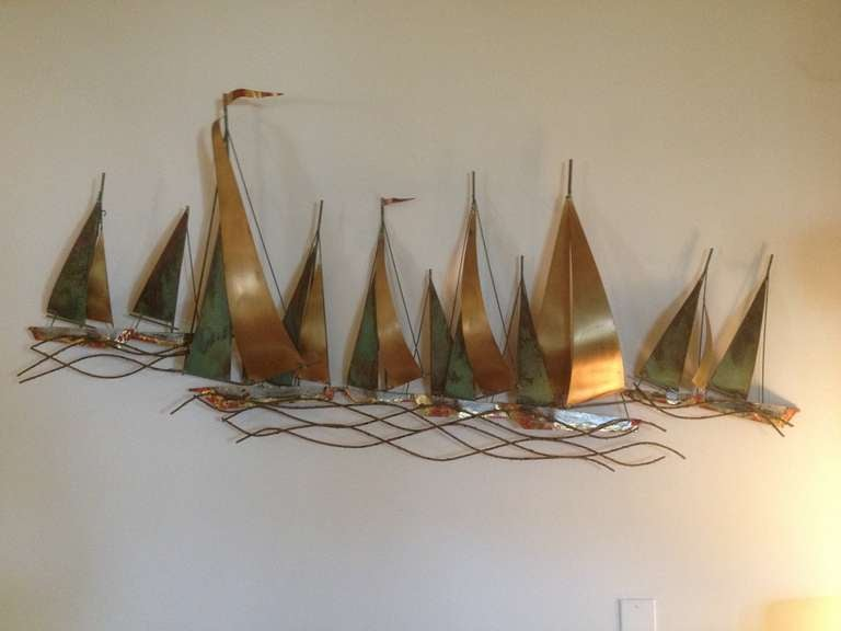 American Curtis Jere Sailboat Wall Sculpture 1971 For Sale