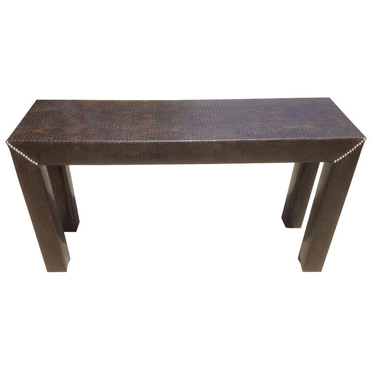 Faux Alligator Console Table 1970 39 S At 1stdibs