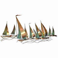 Curtis Jere Sailboat Wall Sculpture 1971