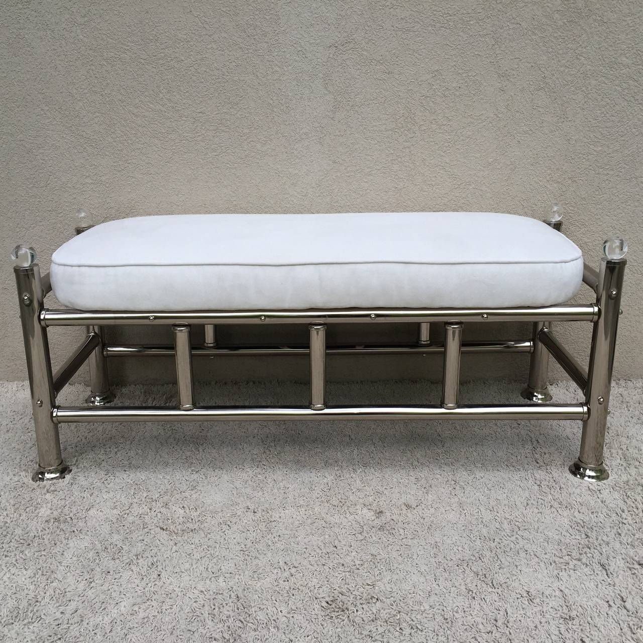 Polished Chrome Lucite Bench At 1stdibs