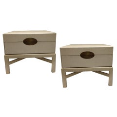 Pair Linen Lacquer Marge Carson End Tables