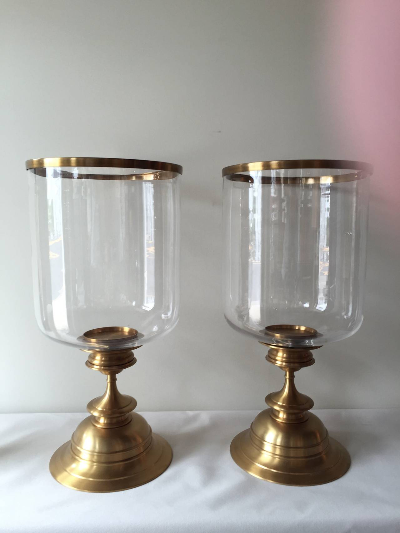 Greatest Pair of Brass Satin Finish Extra Large Hurricane Lamps at 1stdibs VQ72