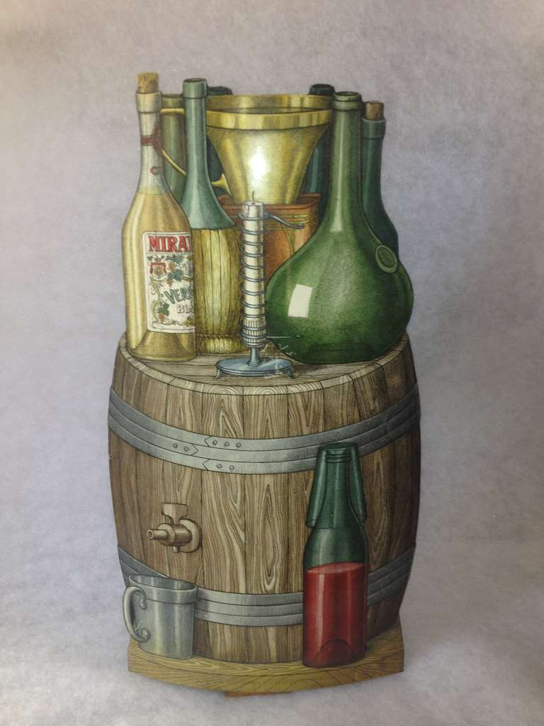 Piero Fornasetti Enameled metal wine and alcohol themed Umbrella stand