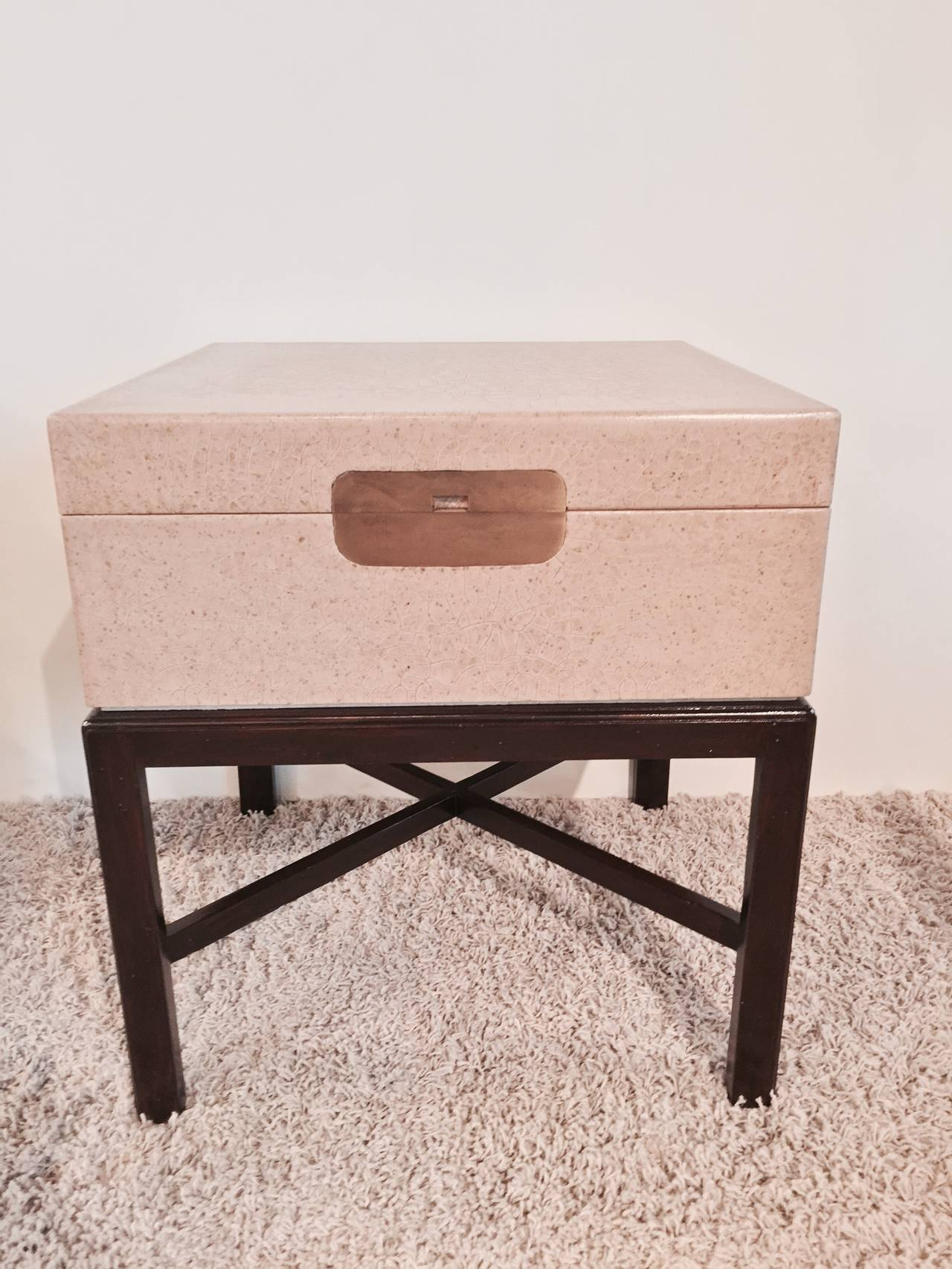 Marge Carson Taupe Craquelure Box Table With Bronze Front On A Um Dark Walnut