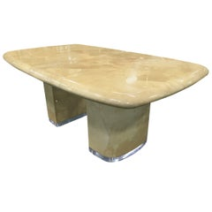 Large Ron Seff Goat Skin Rare Lucite Base Expandable Dining Table