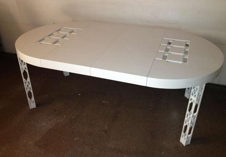 Attributed james mont dining table white lacquer for sale for White lacquer dining table