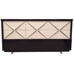 Paul Laszlo Style Dark Walnut Off-White X-Pull Design Cabinet/Sideboard