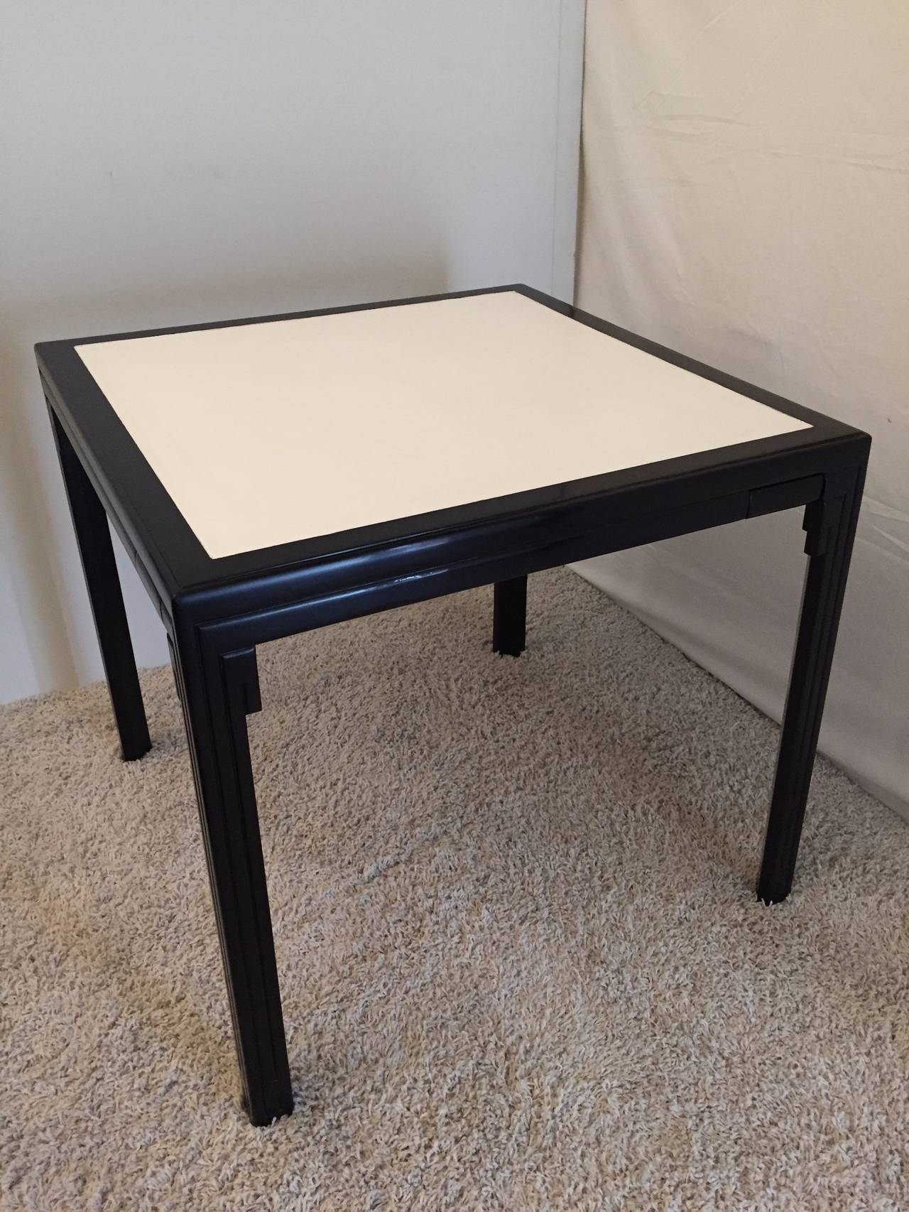Mid Century Modern James Mont Leather Top Card Table For