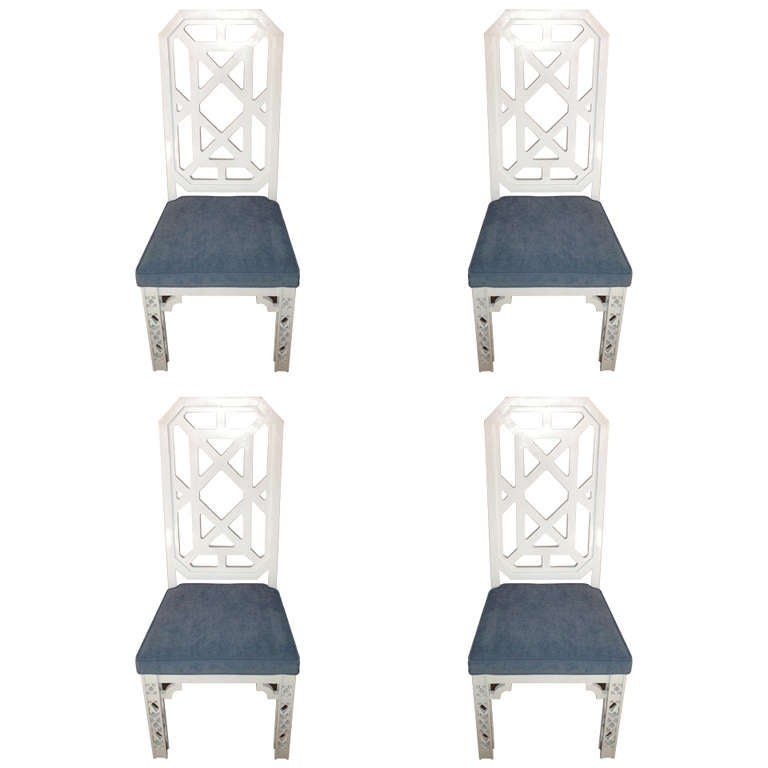 James Mont Attributed Set of 4 Chairs White Lacquer