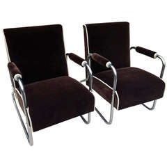 Pair Tubular Chrome Deco Club chairs Attributed Gilbert Rhode