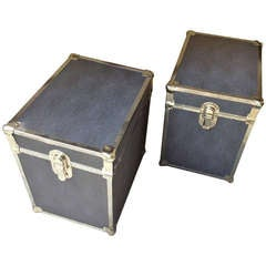 Pair Chrome Faux Shagreen End Table Trunks