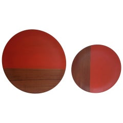 Pair of Large Midcentury, Walnut Orange Paint Chargers