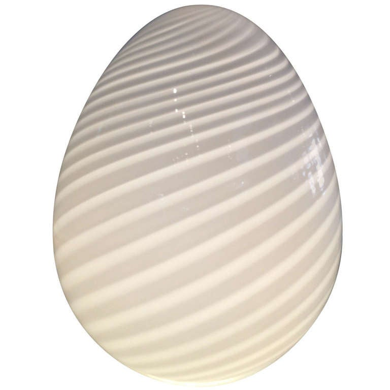 Venini Murano Glass Egg Light For Sale