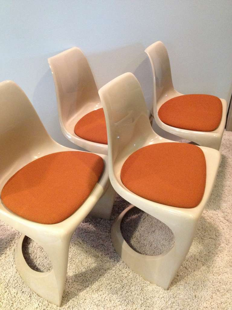 Fabric Set of Four Molded Plastic Steen Ostergaard Cado Chairs For Sale