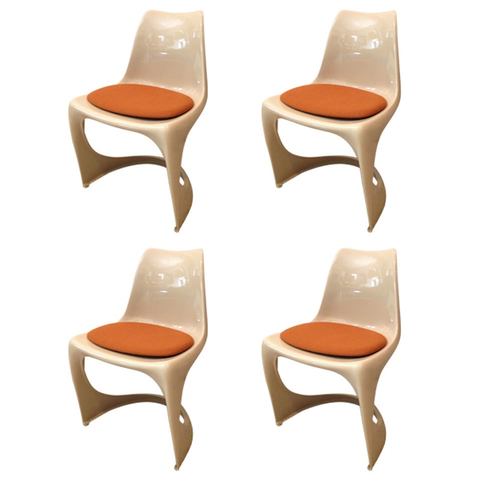 Set of Four Molded Plastic Steen Ostergaard Cado Chairs