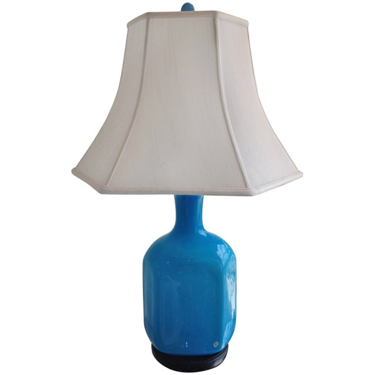 1960's Turquoise Cased Glass Holmegaard Danish Lamp