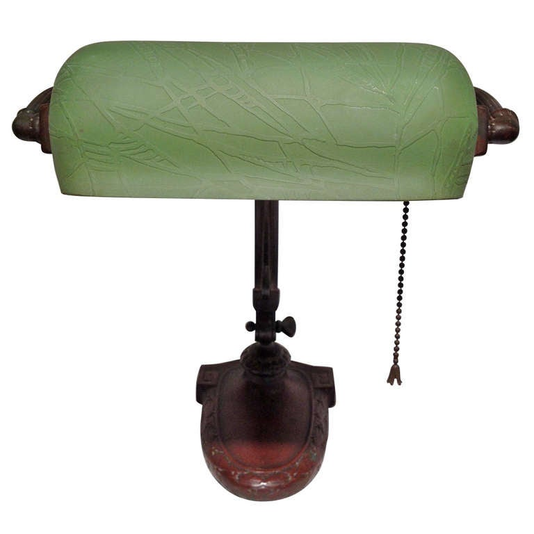 Attractive Handel Bronze Desk Lamp Emeralite Shade At 1stdibs