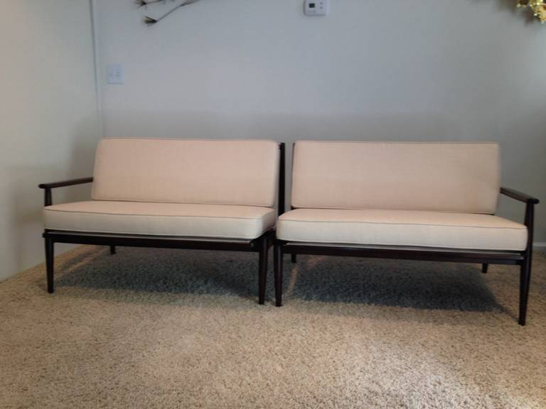 danish modern for selig walnut twopiece sofa 3