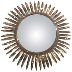 French 1950s Brass Starburst Convex Mirror