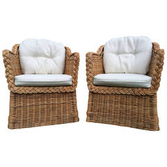 Pair of Wicker/Rattan Michael Taylor Armchairs