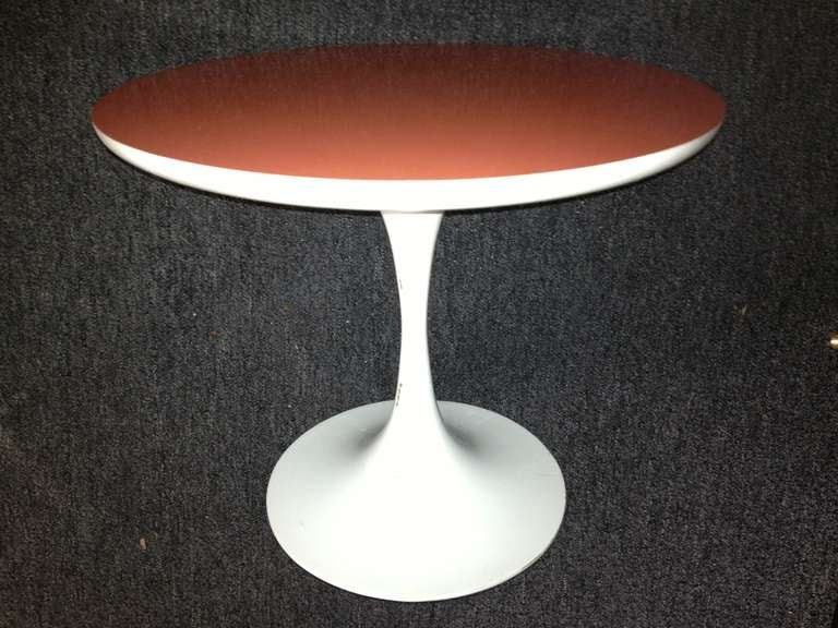 Saarinen design 1960s orange Formica top tulip petite table unsigned, looks to be all original vintage.