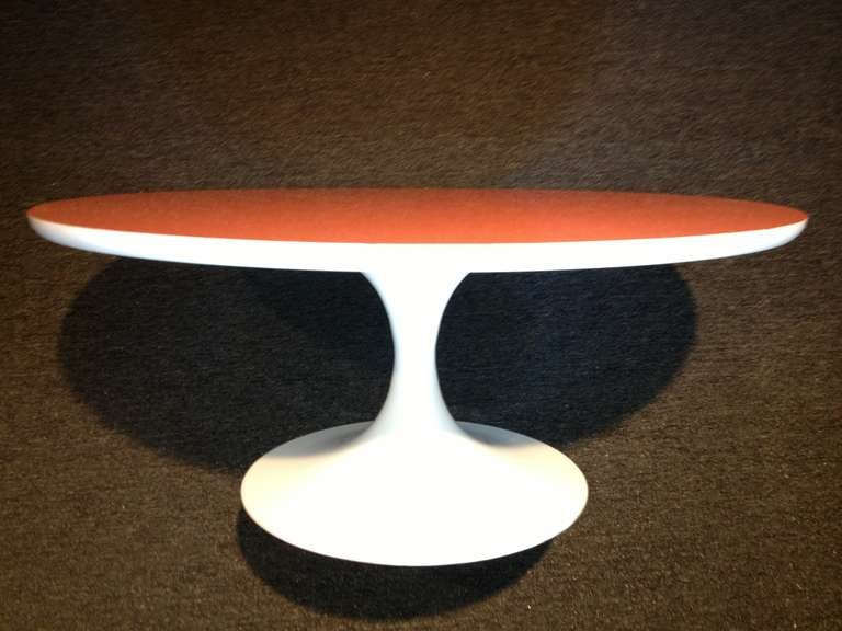 Mid-Century Modern Tulip Table Orange Top For Sale