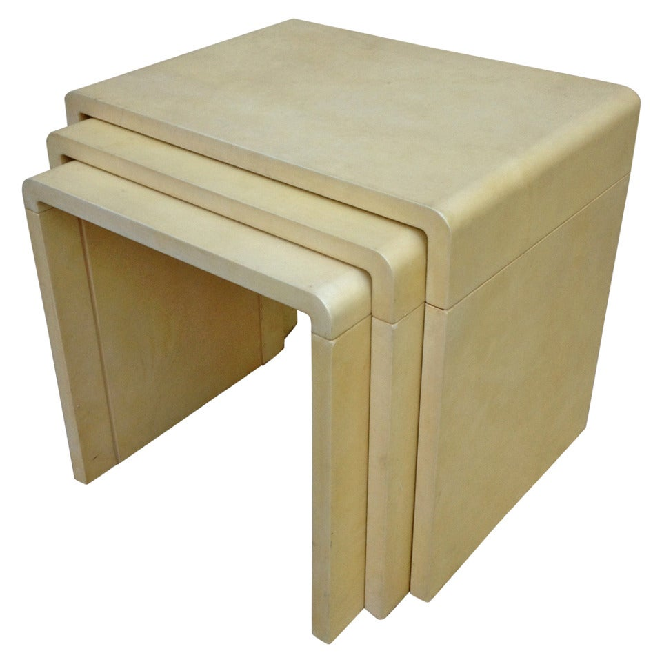 Parchment Stacking Tables, Style of Jean-Michel Frank