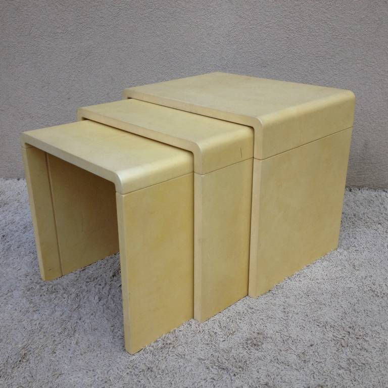 Style Of Jean Michel Frank Style Parchment Stacking Tables