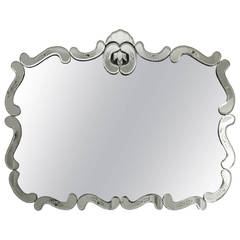 Large Hollywood Regency Beveled etched Mirror