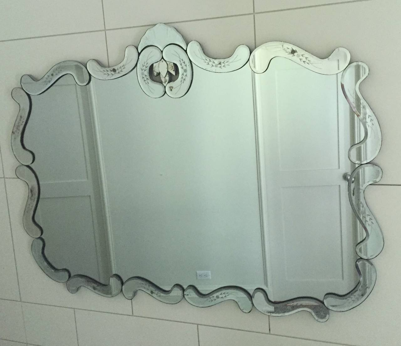 large hollywood regency bevelled etched mirror for sale at 1stdibs