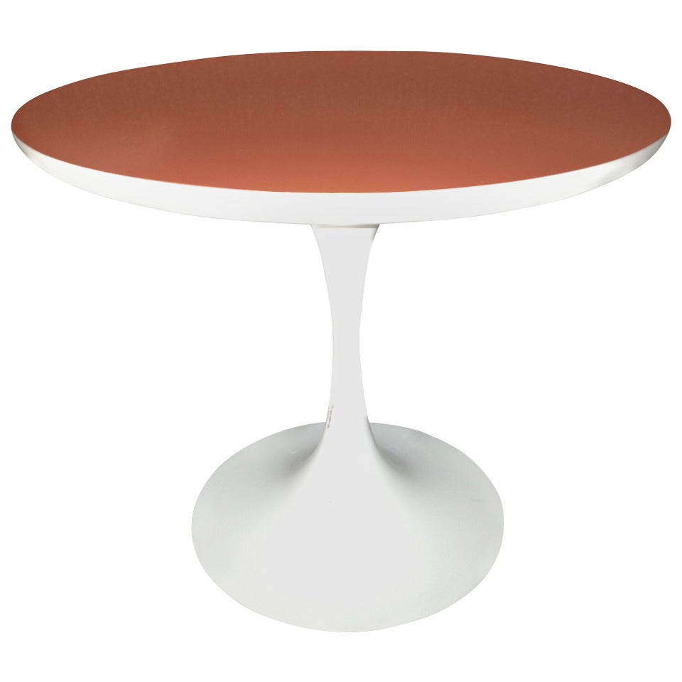 Saarinen Style Tulip Small Table Orange Top