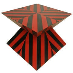 Karl Springer Red And Black Custom Striped Table