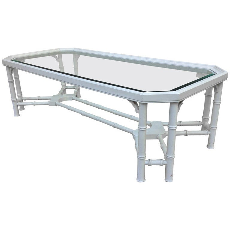Faux Bamboo White Maison Jansen Style Coffee Table For Sale
